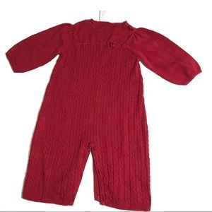 Gymboree Red Kids Romper Cable Knit Christmas